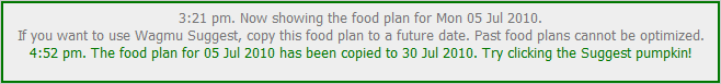 The Message Panel says that the food plan has been copied to 26 May.